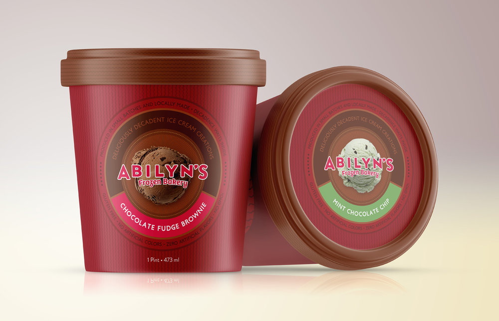 Package design for ice cream pints, using the logo system to highlight flavors.