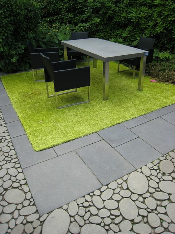 softgardening: Nice material palette for outdoor patio. Cool contrast