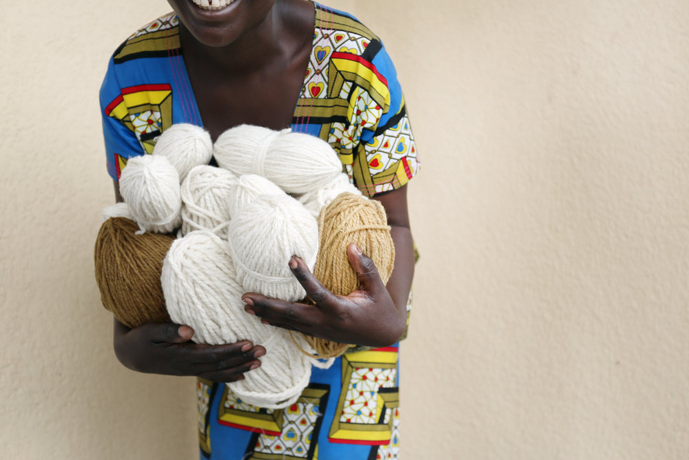 Indego Africa artisan with hand spun sheep's wool