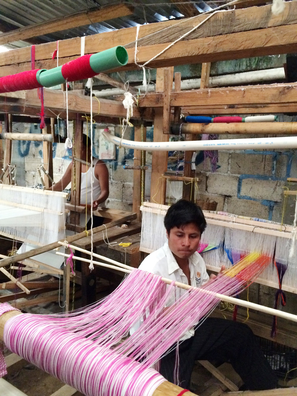Setting the warp in the weaving workshop