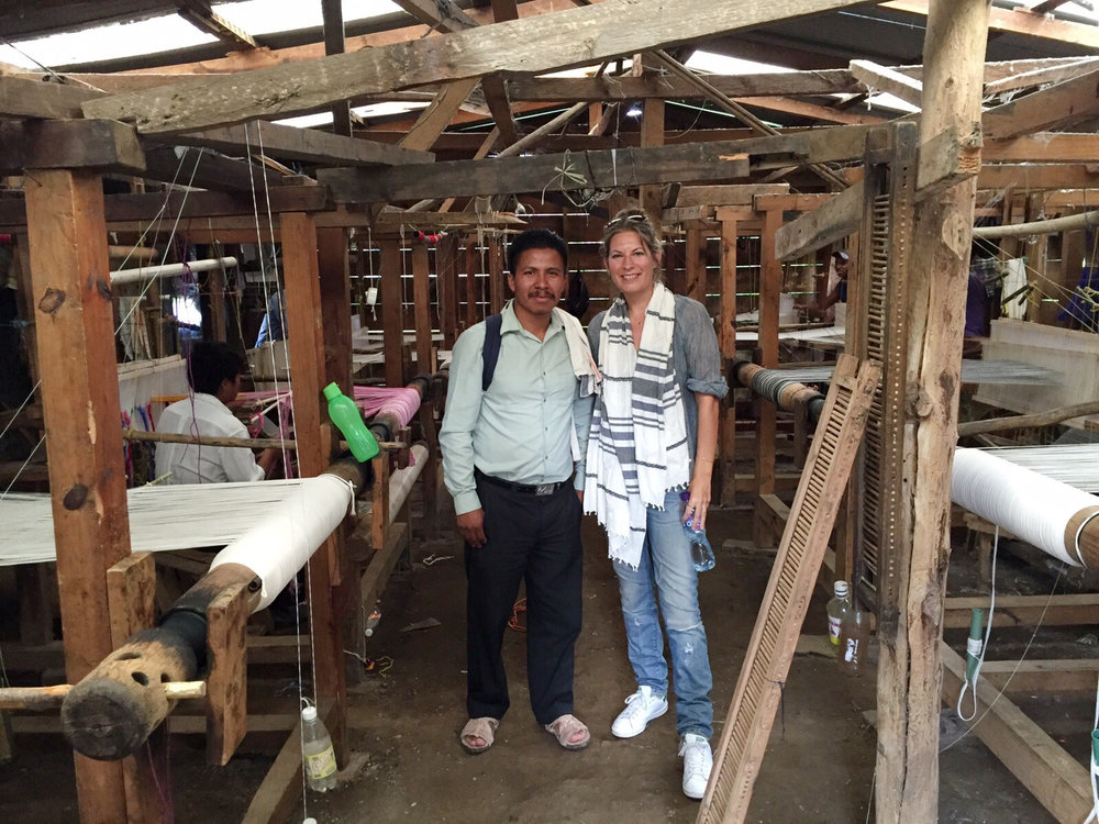 Lauren and Alberto in the weaving workshop