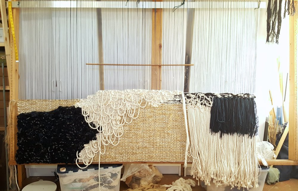 Vertical loom in All Roads studio