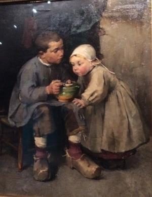 Helene Schjerfbeck, Pikkusiskoaan ruokkiva poika, 1881