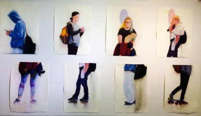 "Oliver Whitehead, ""Shift"", pastelli, piirustukset"