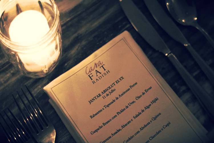 The Casa Fat Radish x Absolut Elyx Dinner menu.