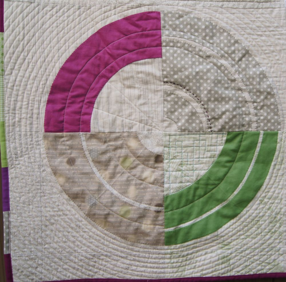 Detail, Bulls' Eye to show the circular quilting