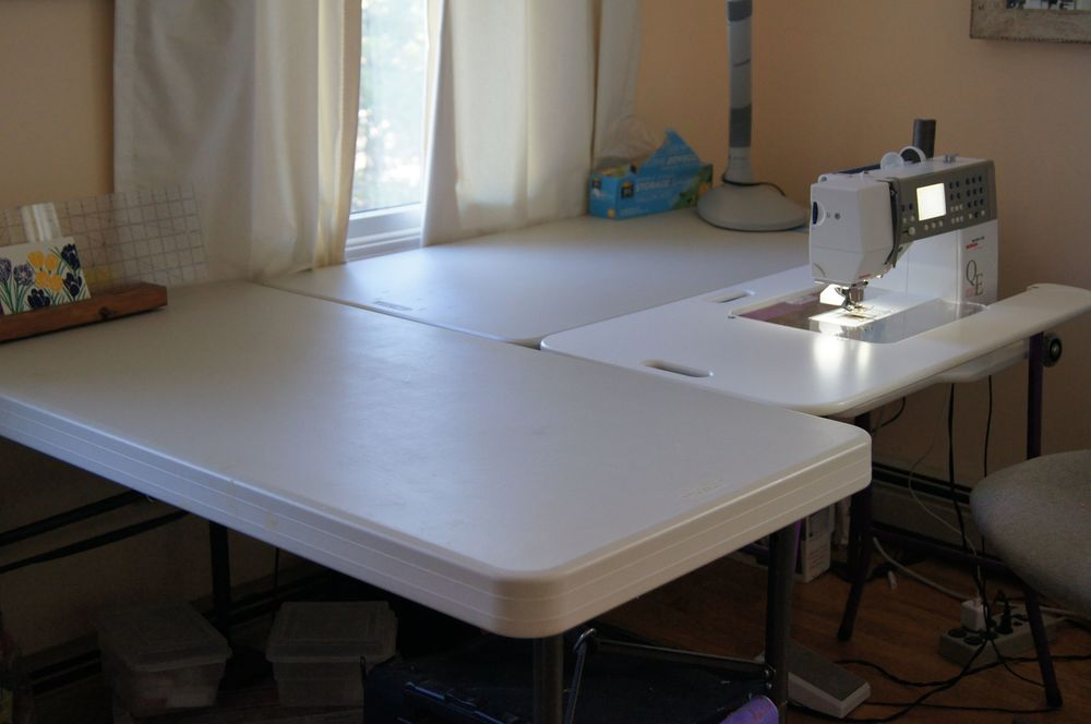 SewEzi Sewing Machine table nested into 2 folding tables