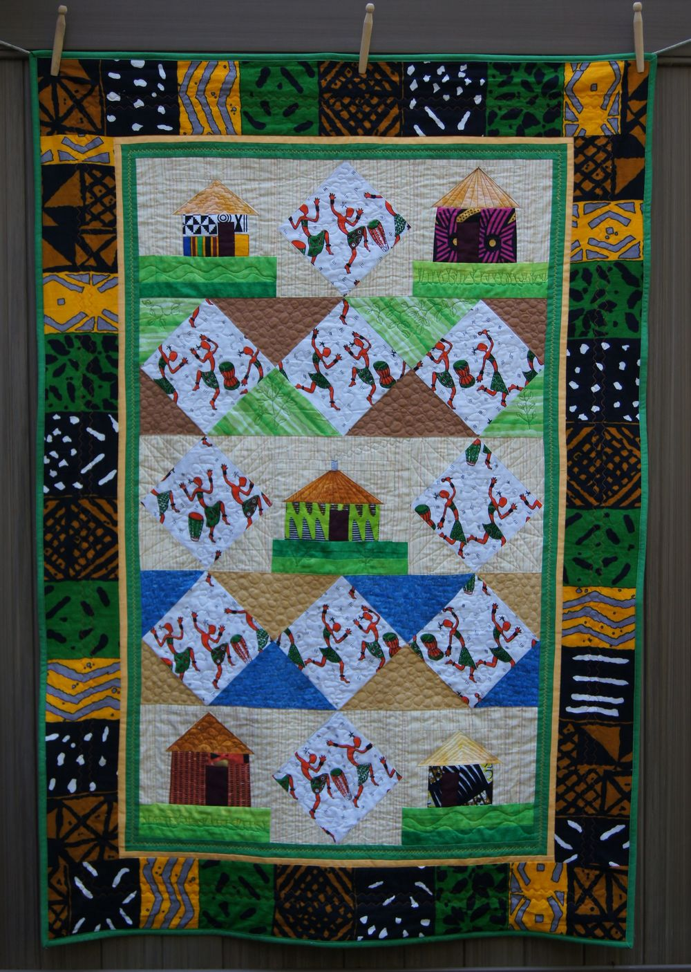 Quilt African Village with Dancers 9-14.jpg