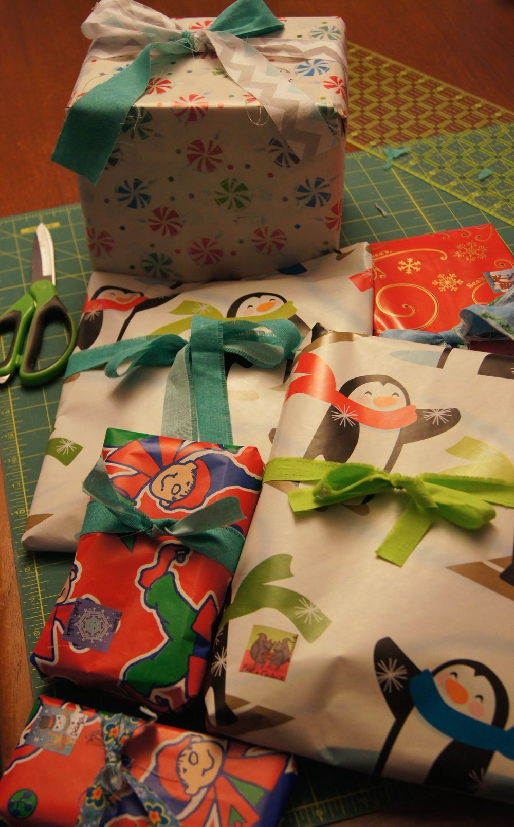 Gifts with fabric strip scraps in place of ribbons