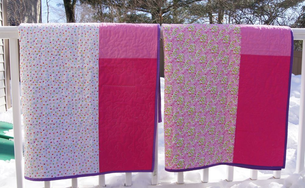 "Backs of the ""Twin Cities"" quilts"