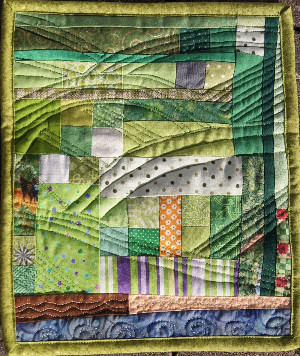 "Irish Mini Quilt   9 3/4"" x 11 3/4""  ""40+ Shades of Green"""