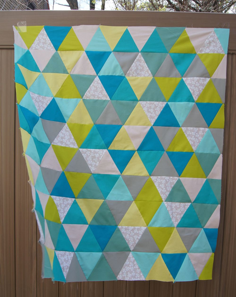 Spring Colors Thousand Pyramids quilt top