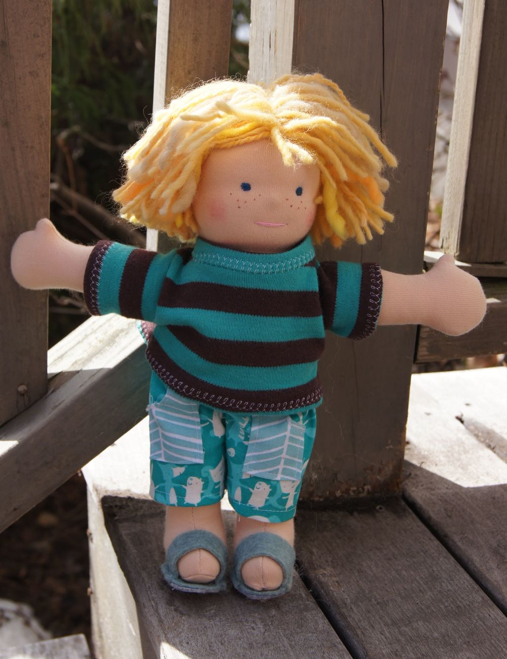 "Surfer Boy, 10"" Waldorf type doll, my pattern, 2015"