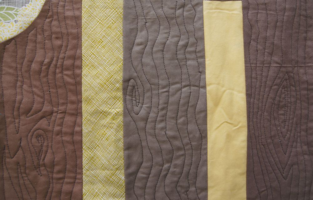 Left to right, the quilting was done by free-motion, free-motion, walking foot