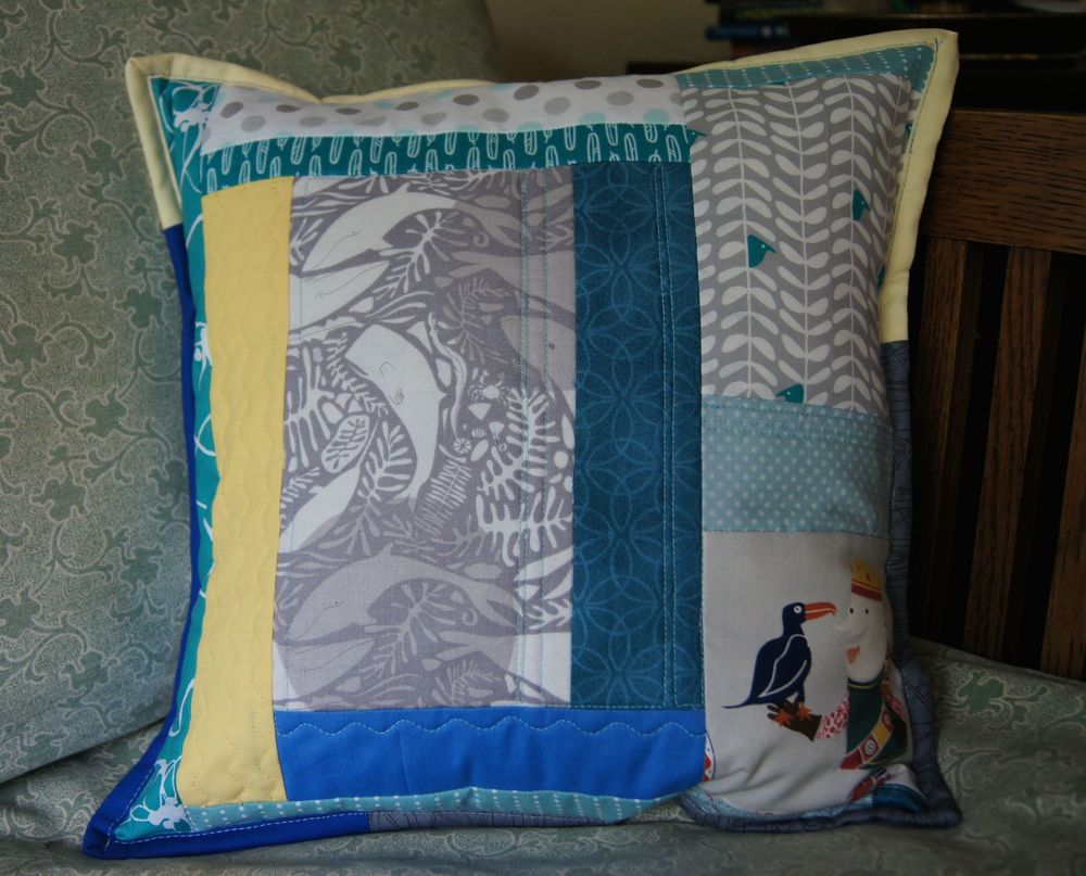 Quilting As You Go Pillow Cover 15 x 15 Inches