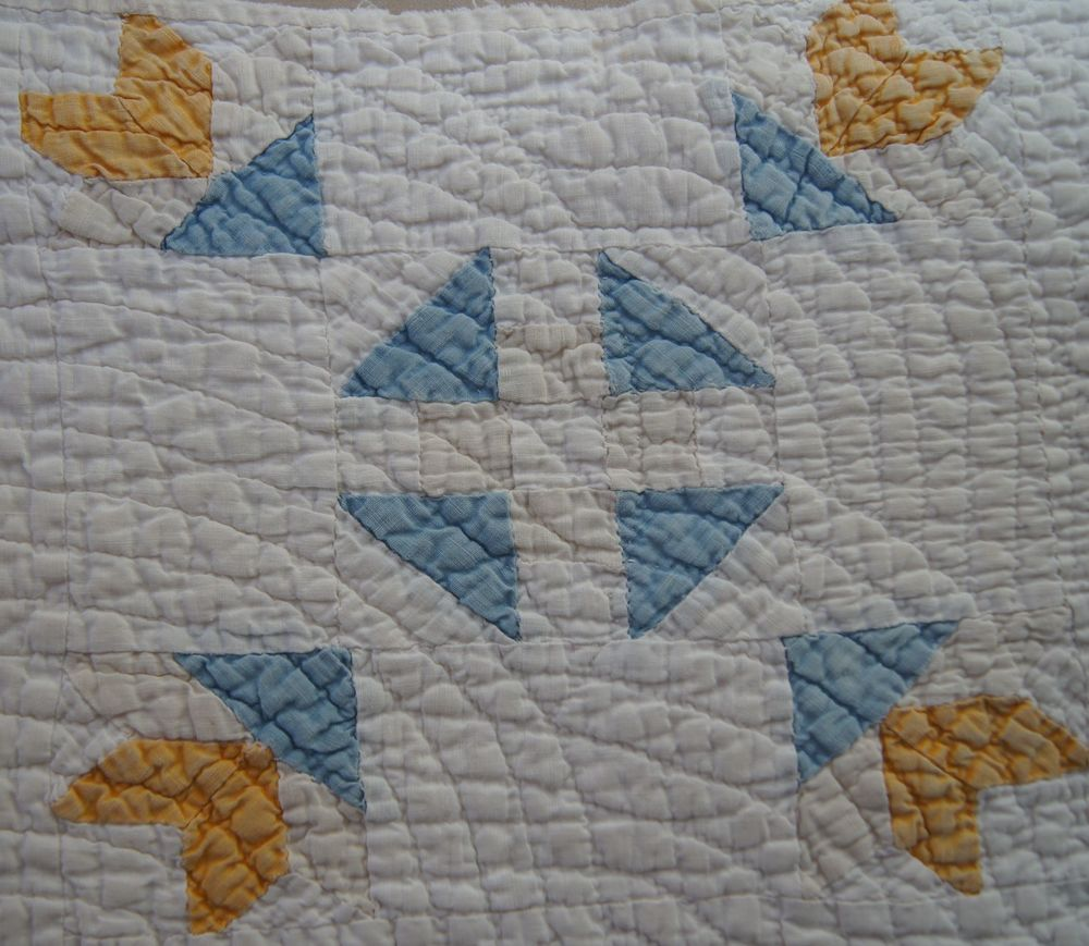 Cheddar and Blue 9 patch pieced block, approximately 9.5 x 9.5 inches