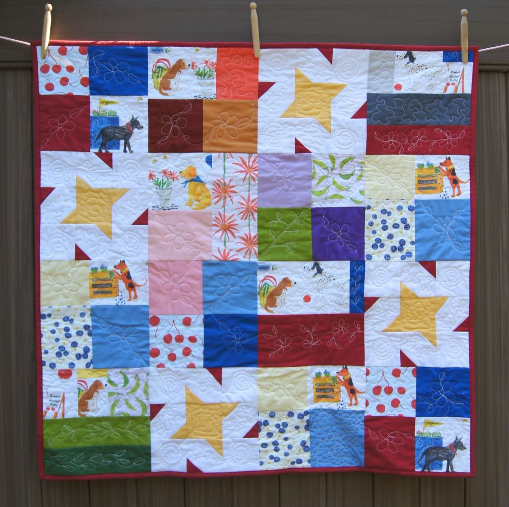"""Dogs at the Farmer's Market FQ FrIendly Quilt"" 36x36 inches"