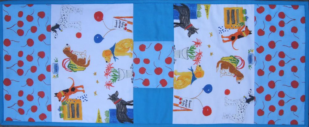 "Table Runner 14 x 35.5 inches using ""Dogs at the Farmers Market"" fabric collection available at Spoonflower.com"