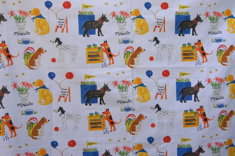 """Dogs at the Farmer's Market"" Focus Fabric 40 inches wide"