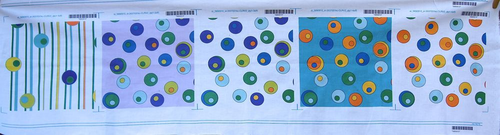 "First set of ""Dancing Circles"" proofs from Spoonflower.com"