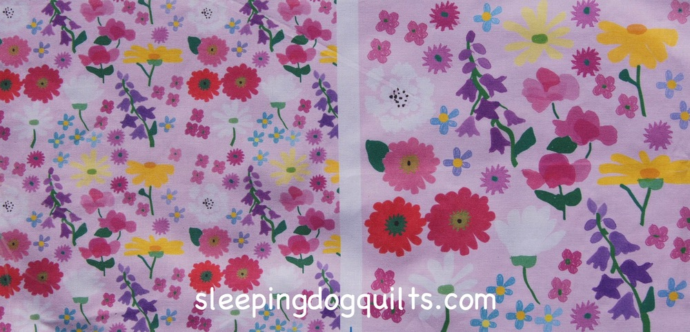 """My Flower Garden"" fabric, printed by Spoonflower.com.  Can you match the flowers in my designs with the flower photos above?"
