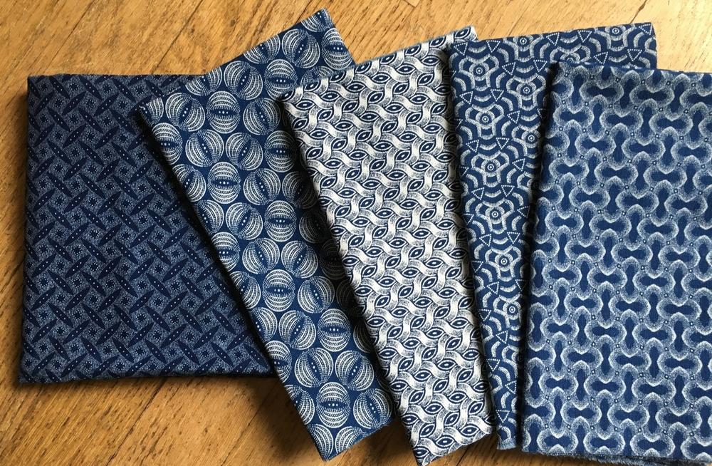 A variety of Shweshwe indigo fabrics