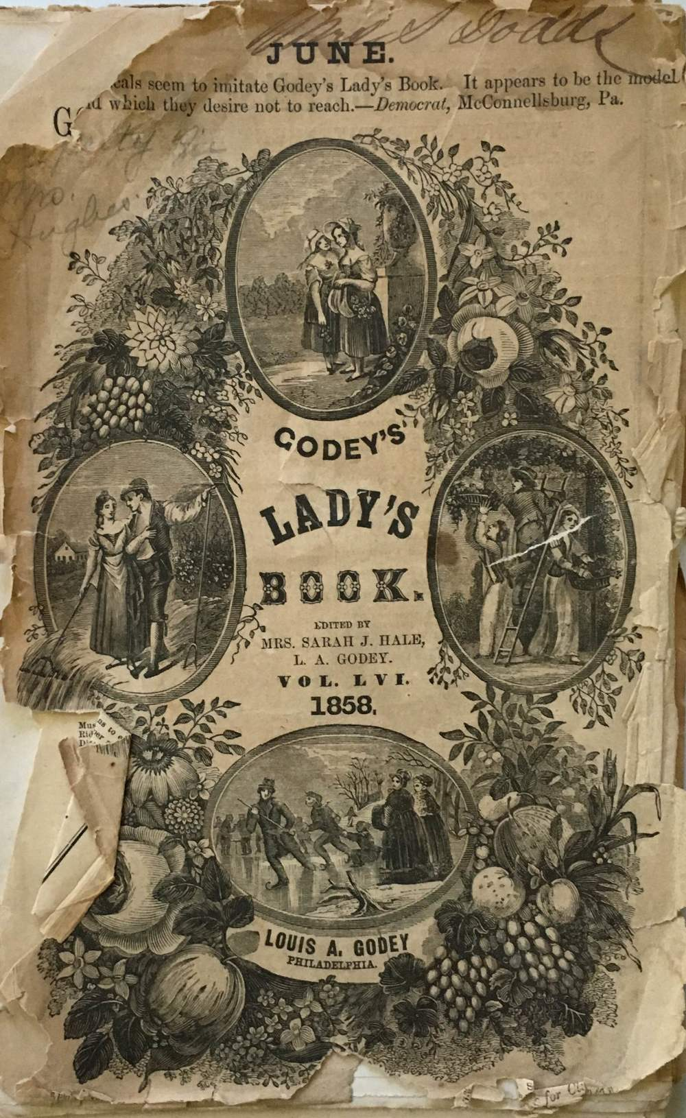 Cover of June 1858 of Godey's Lady's Book