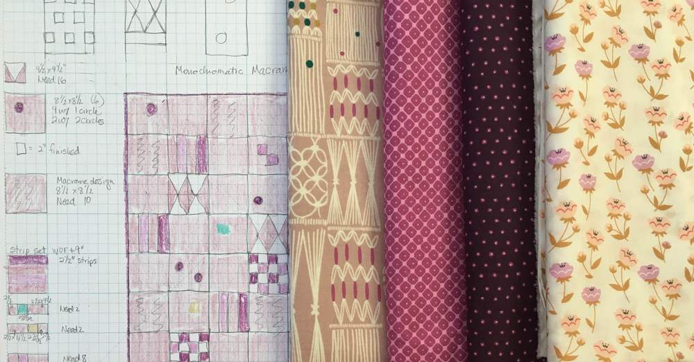 Quilt Diagram and part of the fabric collection