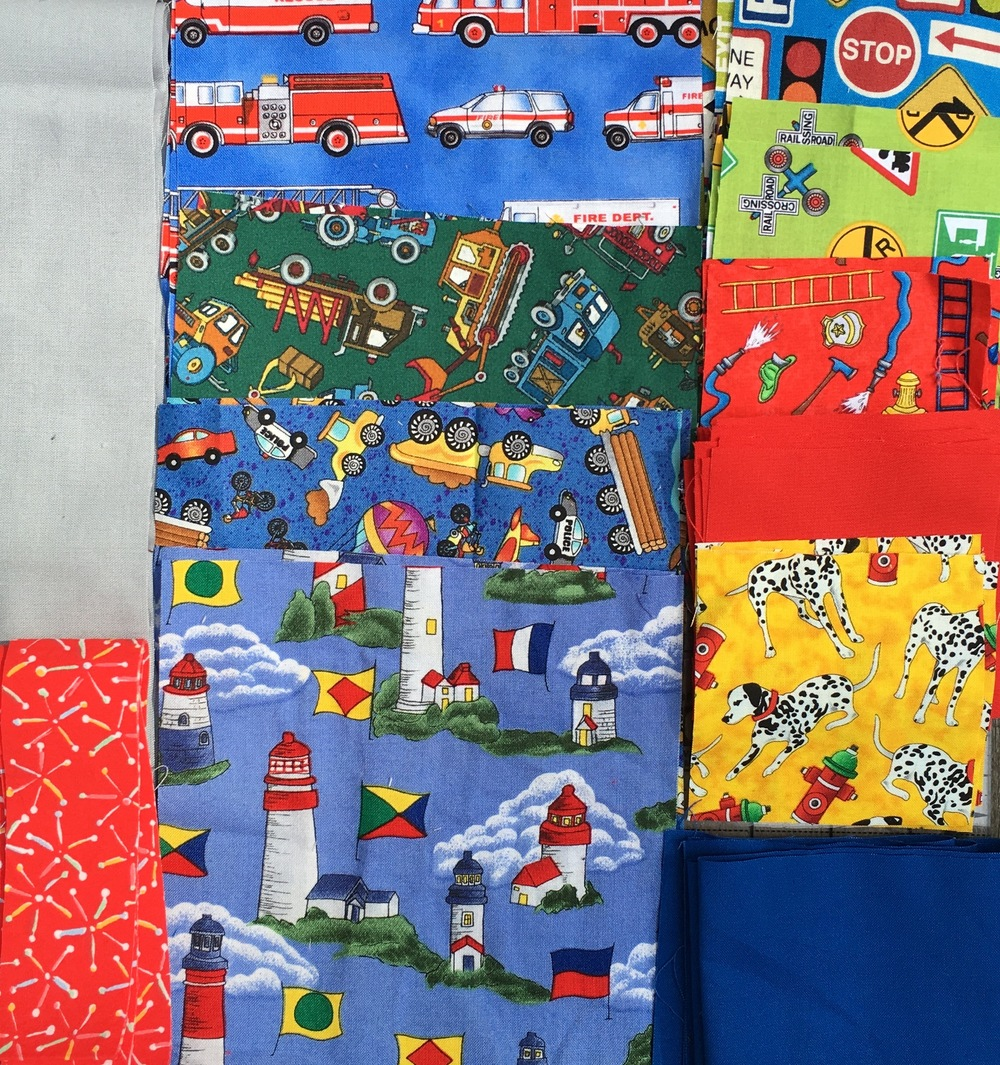 Fabrics collection for my Busy Beach Town Quilt