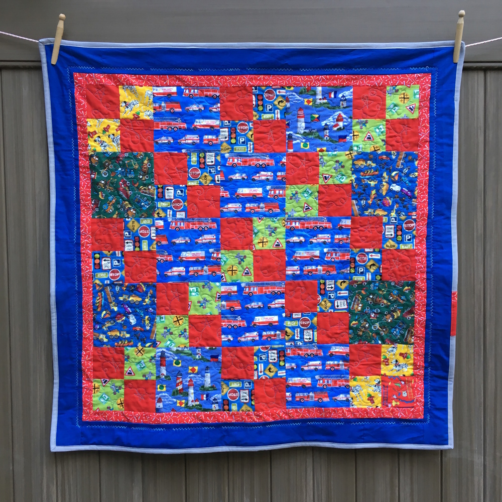 """Busy Beach Town"" Baby Quilt, 36.5 inches square"