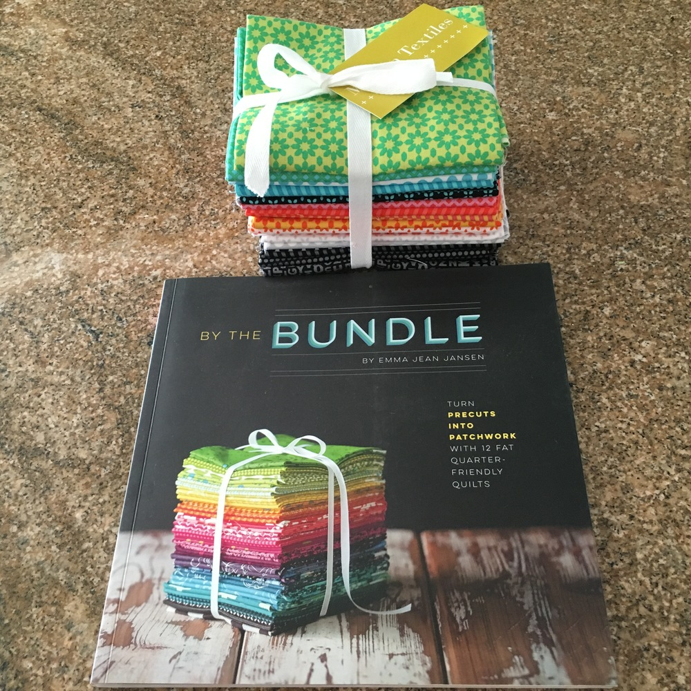 "The ""By the Bundle"" book with a 'short stack' of ""Uppercase"" FQs by Windham Fabrics, purchased at Modern Textiles, Fargo, ND."