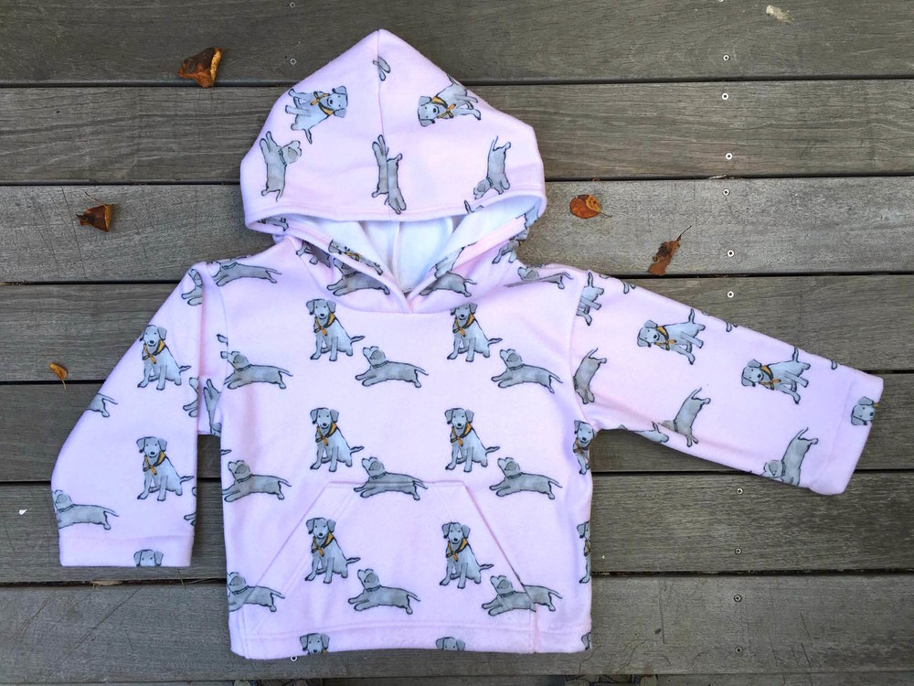 """Yia-Yia's Snuggle Hoodie"" made with my Black Lab Puppies Mono Print Fleece fabric"