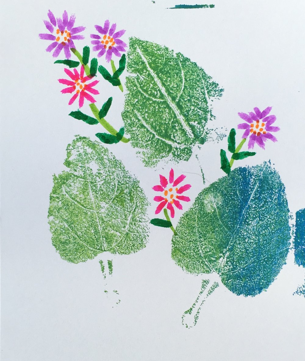 Mono Print with Watercolor Brush Flowers