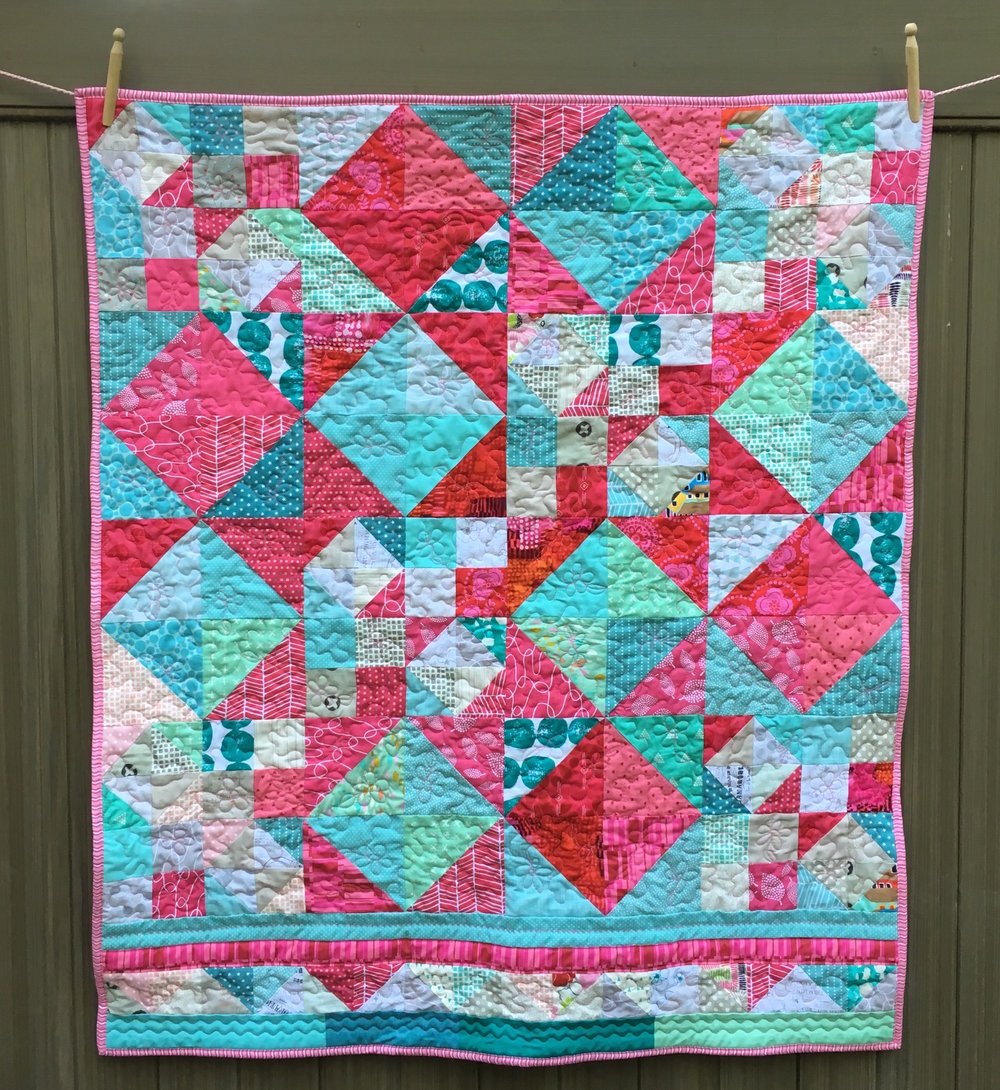 Pink and Aqua with Stars 39 x 45 inches