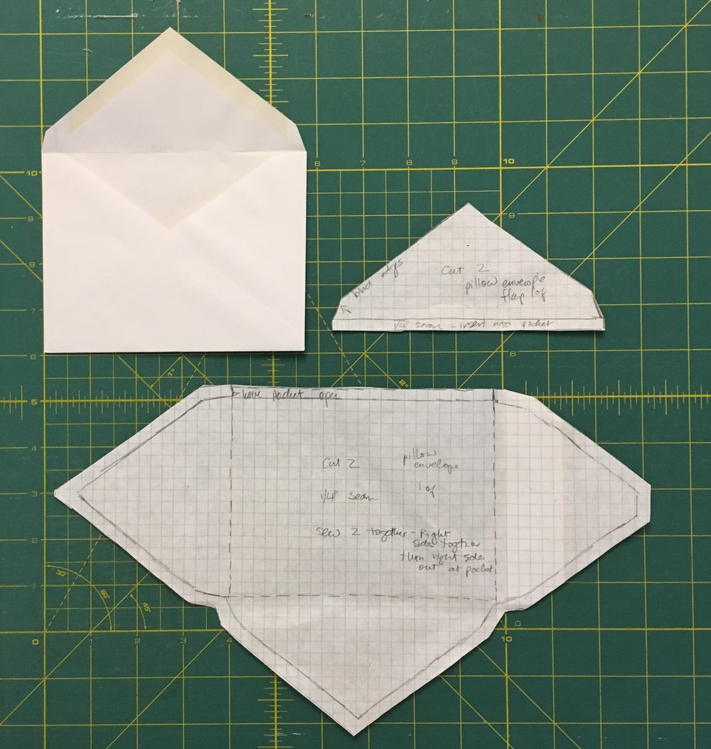 Envelope pattern pieces and intact template envelope