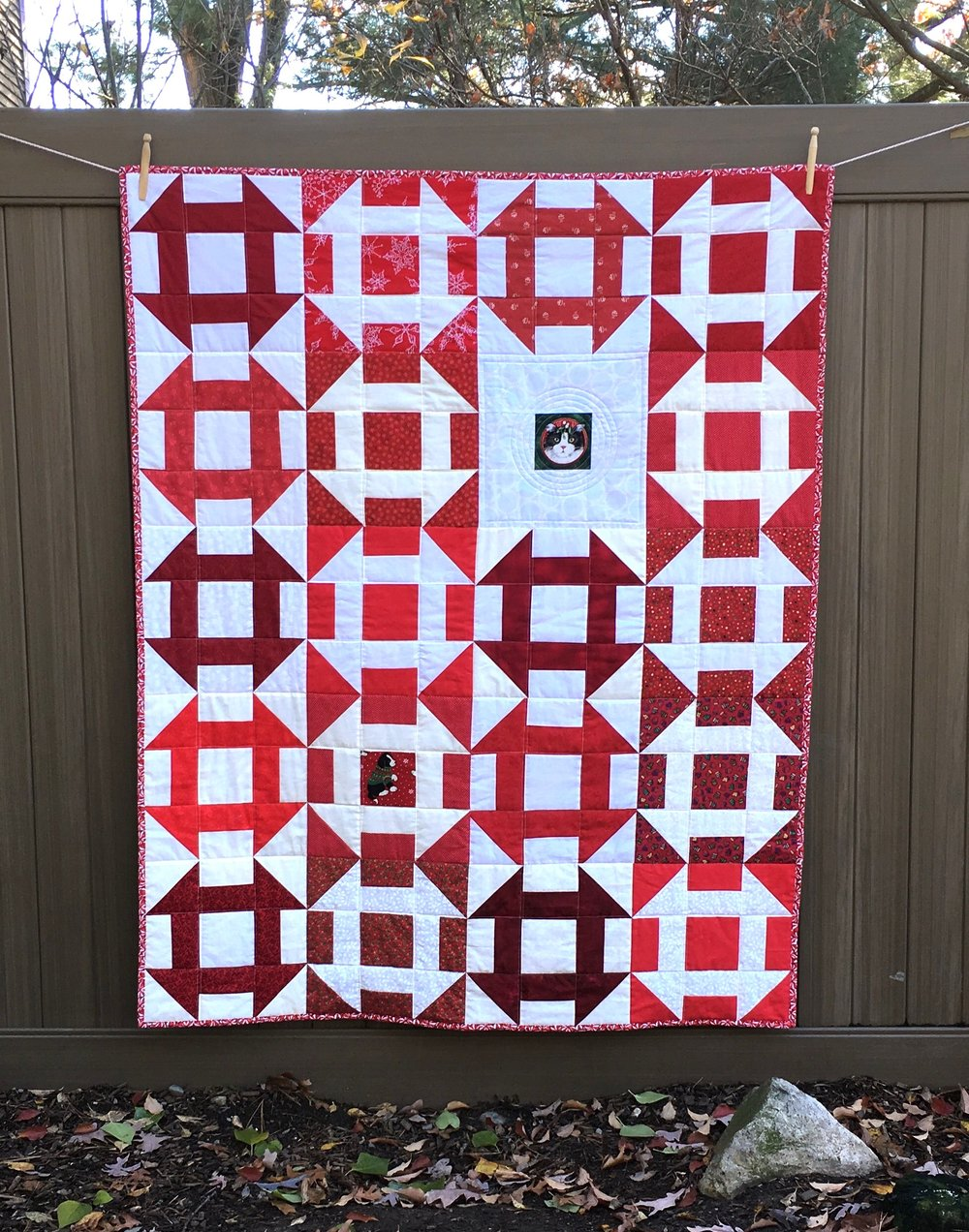 Churn Dash Christmas Lap Quilt 48 x 60""