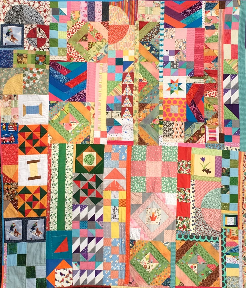Orphan Block Improv Quilt, 60 x 70 inches