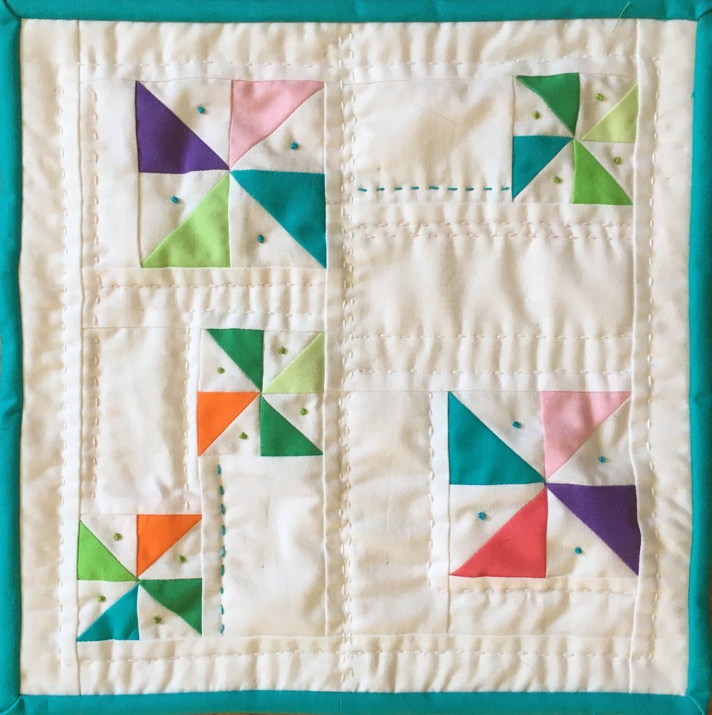 Pinwheel Doll Quilt 11 x 11 1/2 inches