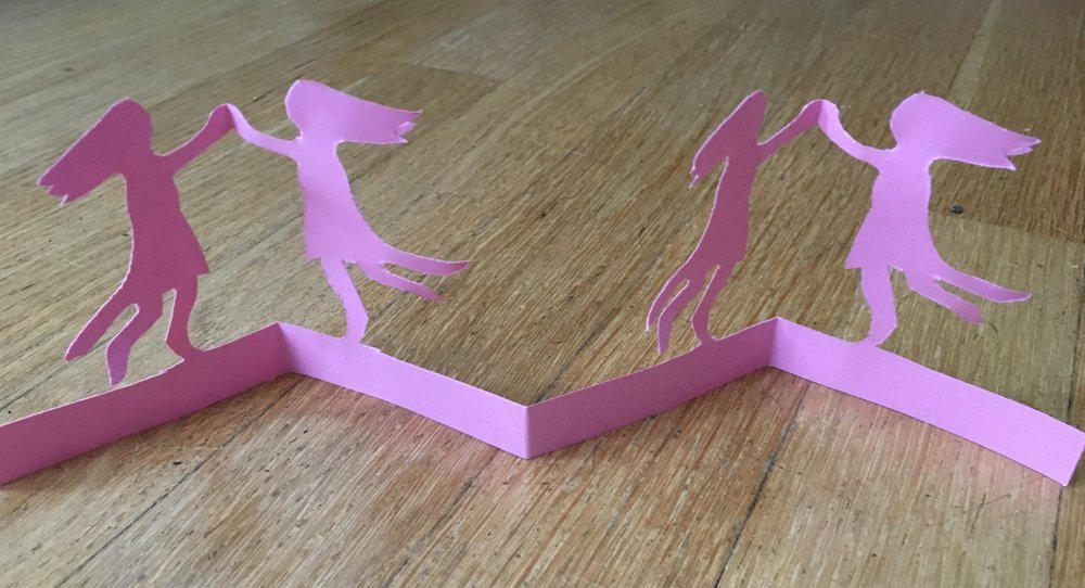 """Dancing Girls""  This paper cutting is my original design"