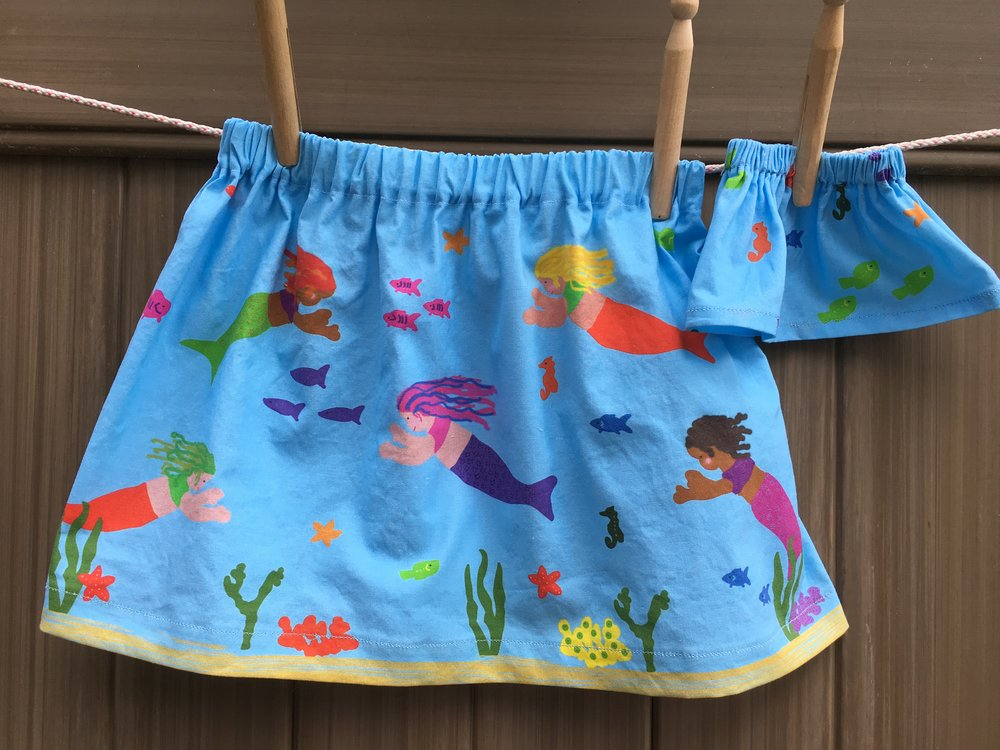 Child's Mermaid skirt (this one is size 3T) and coordinating skirt for a doll
