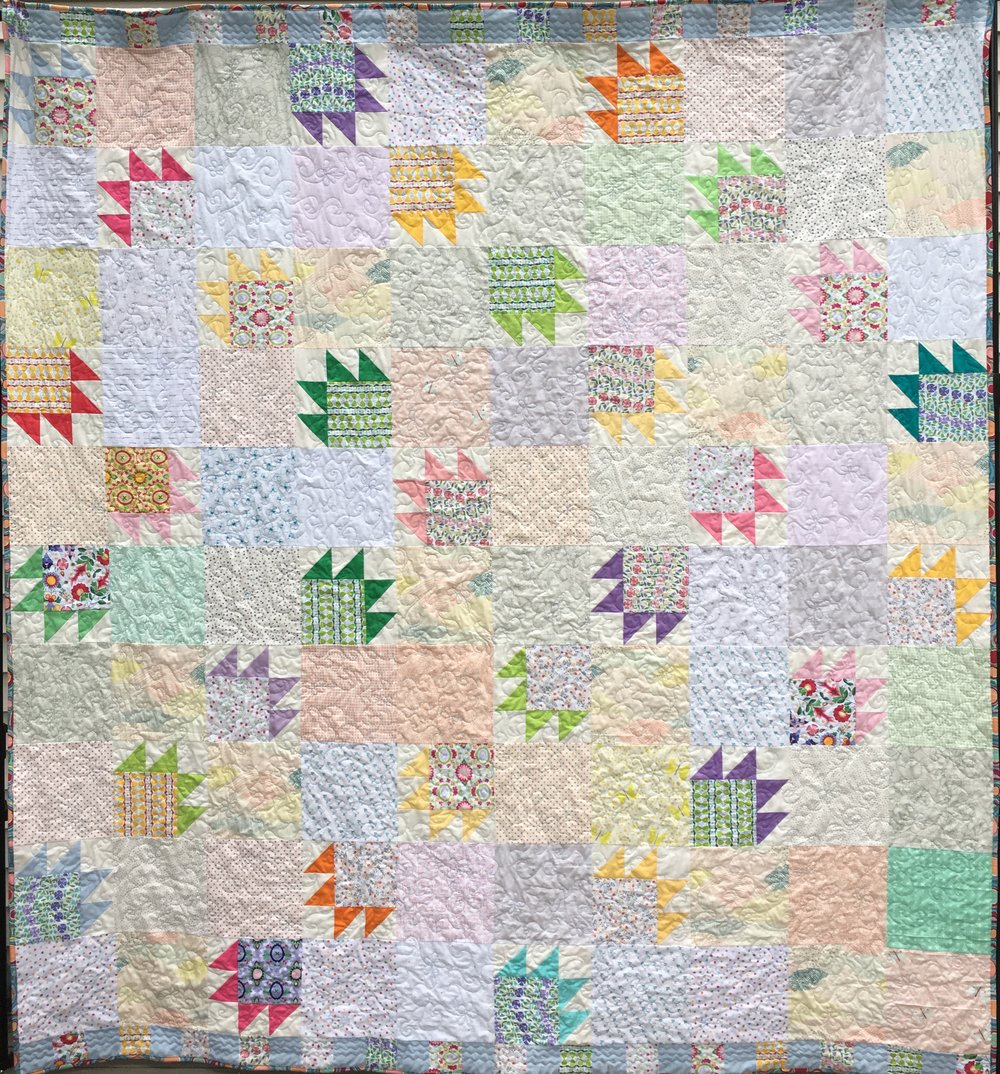 """Bears in the Meadow"" Queen size bed quilt"