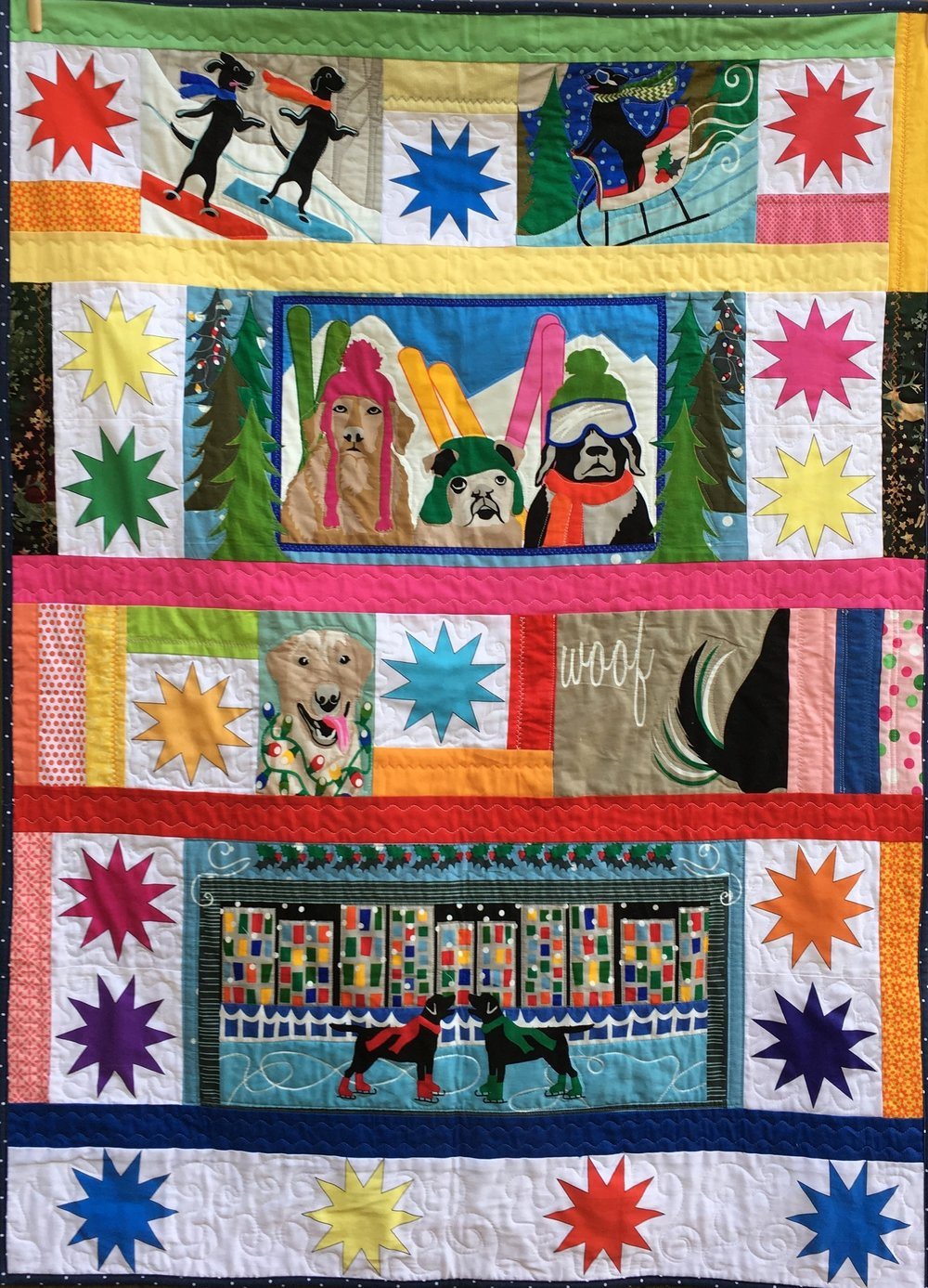 """Winter Pups"" Lap quilt 37 x50 inches"