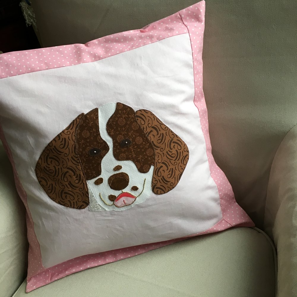 Appliqued English Springer Spaniel Envelope Pillow 16 inches square