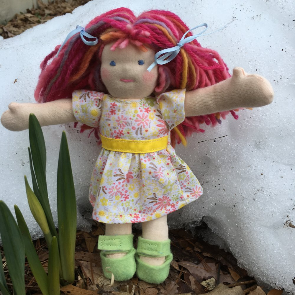 "8"" Waldorf type doll with pink hair and fair skin"