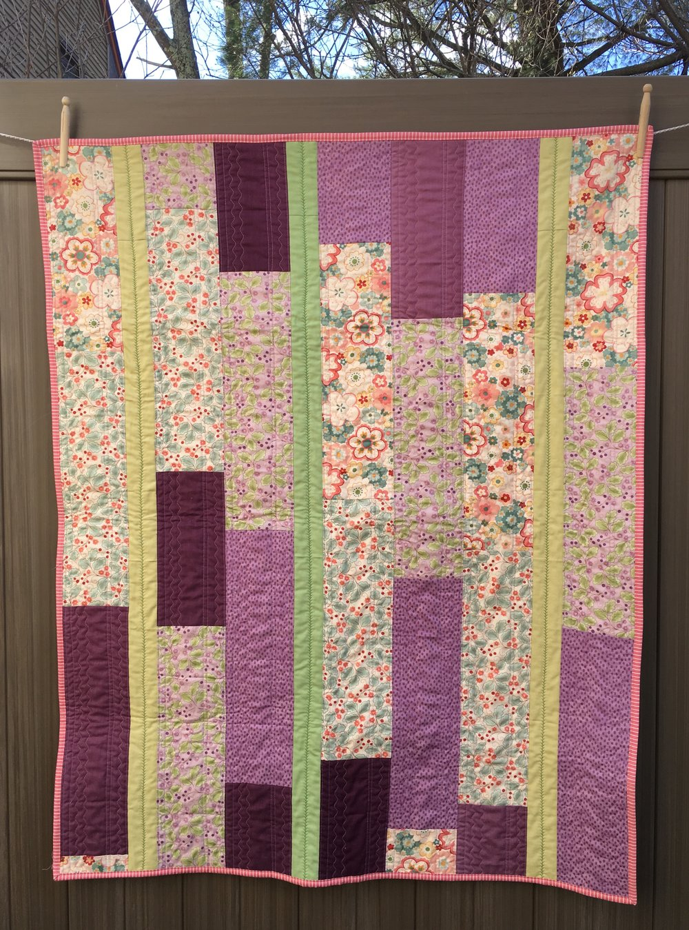 Lavender Floral Strip Quilt Variation, approx 42 x 50 inches