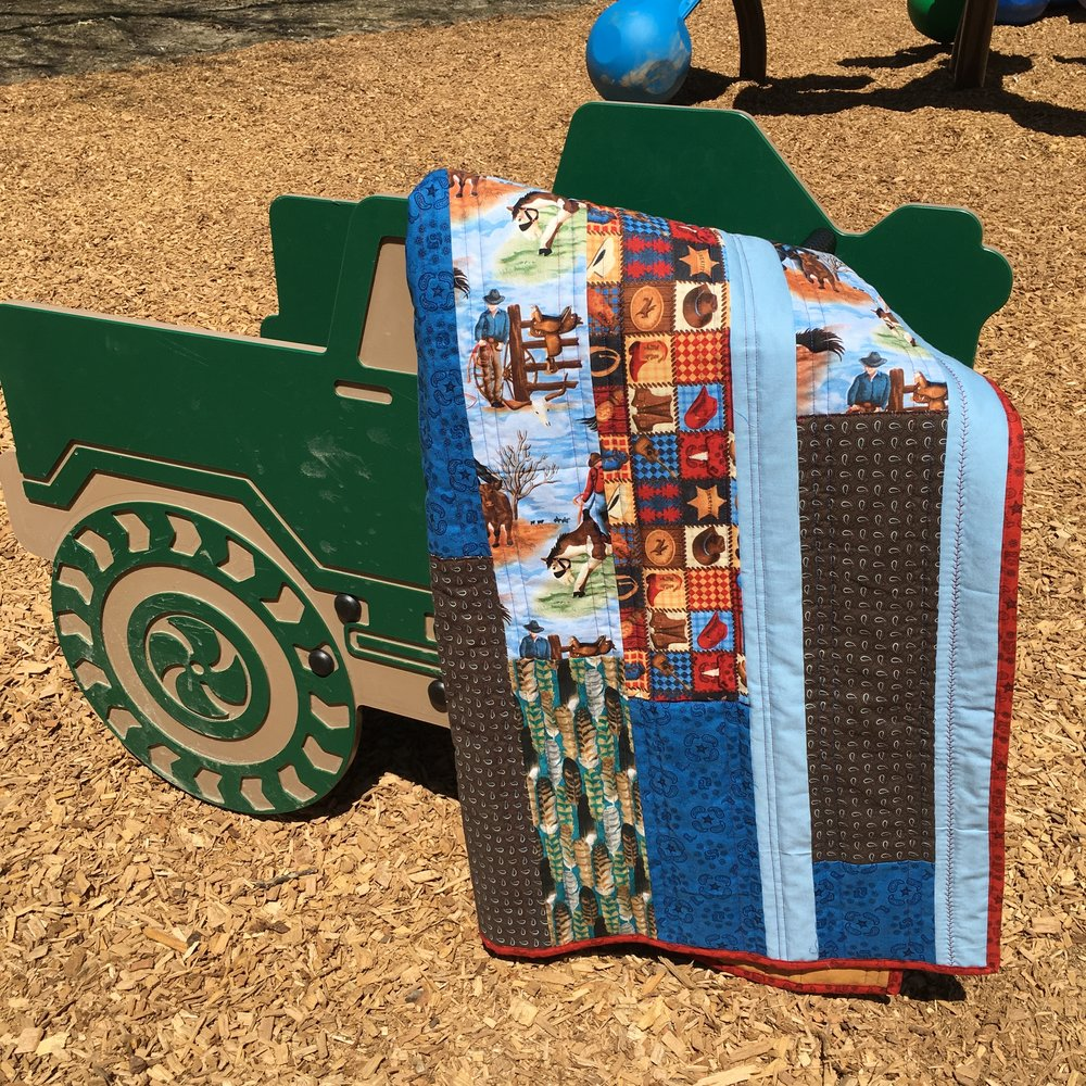 Crib Size Cowboy Strip Quilt