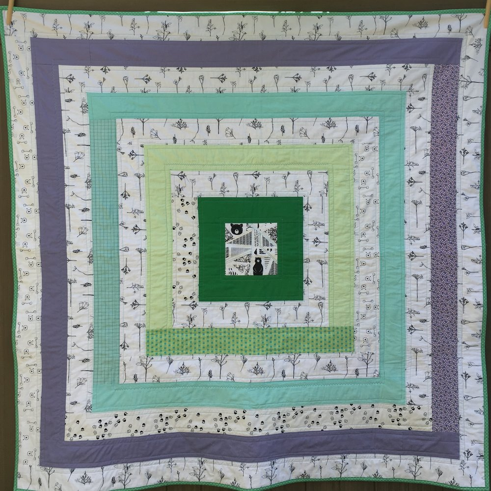 "'Bear Party' ""Cabin"" Utility Style Quilt 54 inches square"