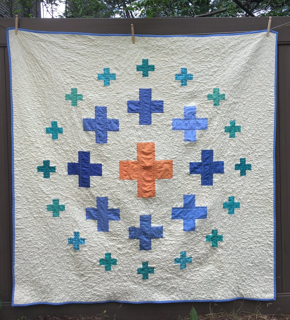 "Scrappy ""Plus Surround"" Quilt after washing and drying"