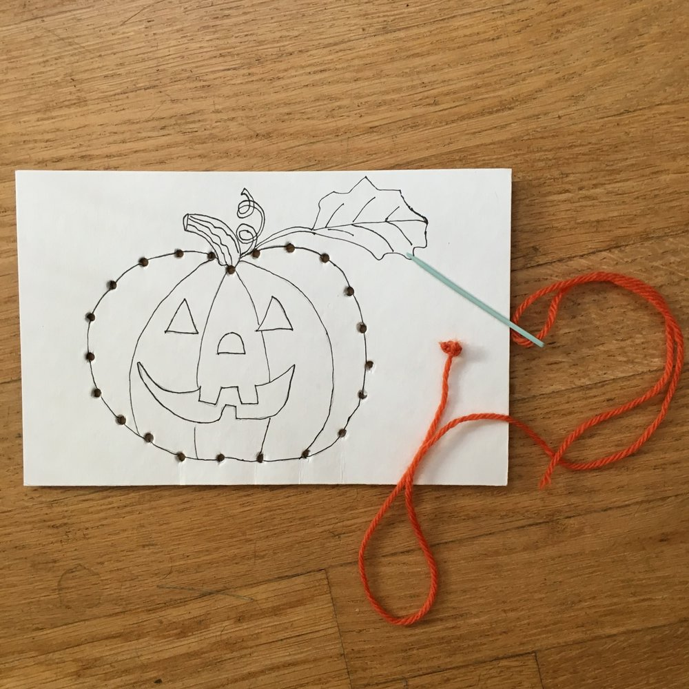 Homemade Pumpkin Sewing Card