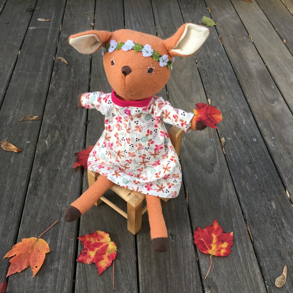 Hazel Village's Phoebe Fawn  in her new homemade dress